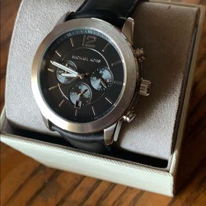 Men's Leather Strap Watch, 45mm